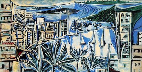 Pablo Picasso.La Bahía de Cannes 1958.Óleo sobre lienzo.130x195cm.Museo Nacional de Picasso.Paris. Impresionante escenario monocolor, azules y blancos con sensaciones de luz y vegetación.El clasicismo-primitivismo impregna su obra