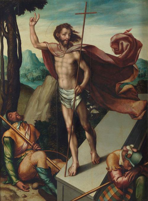 La Resurrección 1566.óleo sobre tabla de roble 167x124cm.MPrado.Donación Plácido Arango.Cristo triunfante situado sobre el sepulcro,rodeado de soldados que custodiaban.Probablemente inspirado en estampas de Durero, lejanías azuladas del fondo.