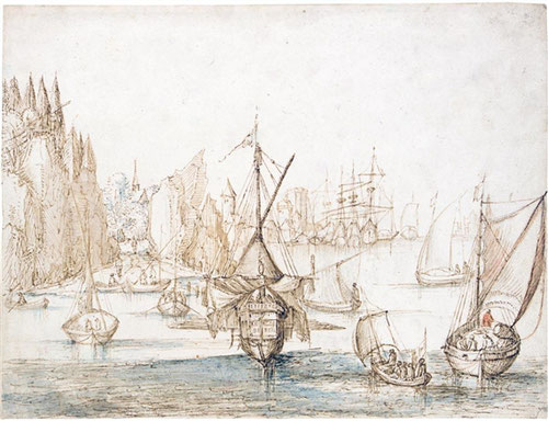 Jan Brueguel el Viejo.Barcos frente a costa montañosa.Tiza roja y azul sobre trazas de tiza negra sobre papel.21x28cm.Colección privada.