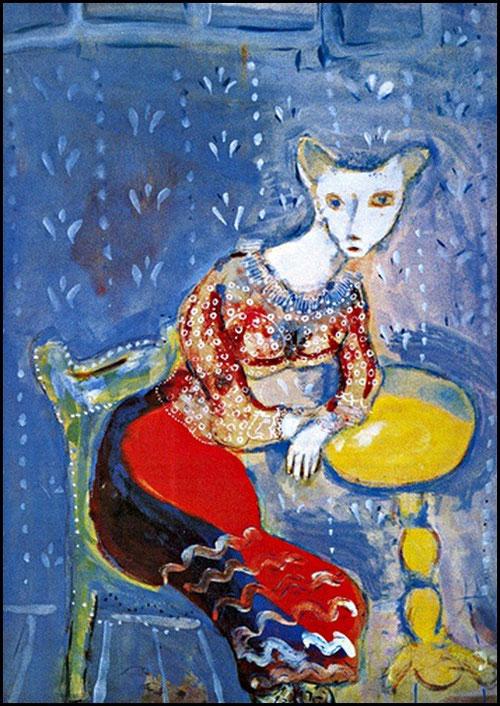 La gata transformada en mujer (Fábulas de La Fontaine) 1926-7. Guache sobre papel, colección privada Paris-Jerusalen