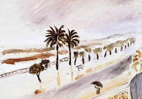 H.Matisse. Tempestad en Niza,1919-20.Óleo sobre lienzo.60x73cm.Musée Matisse, Niza. Desde el balcón con balaustrada del Hotel Beau Rivage su habitación daba a un paseo con palmeras y al mar.Necesitaba silencio y aislamiento para trabajar.