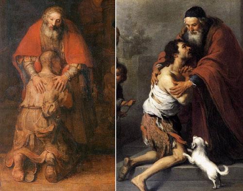 """Jesús nos trae un nuevo decálogo. No se alía con el pecado pero quiere conversión. Ante la ley mosaica del """"ojo por ojo"""", propone un corazón que sepa hacer justicia y misericordia.Son dos miradas complementarias la de Murillo y Rembrandt."""