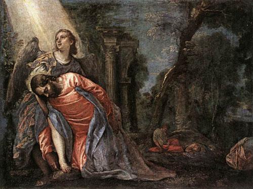 Paolo Veronés. La oración en el huerto 1570. Óleo sobre lienzo, 81x108cm, Milán Pinacotece de Brera.