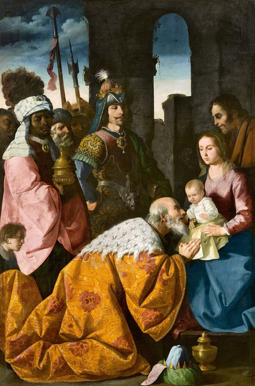 Zurbarán.Adoración de los Magos.1638-39.Musée de Grenoble.Los 4 principales lienzos pintados para la Cartuja de Jerez se encuentran en dicho museo francés.Inspirado en esquemas clásicos,adorado por pastores,sabios,reyes,hebreos y paganos.