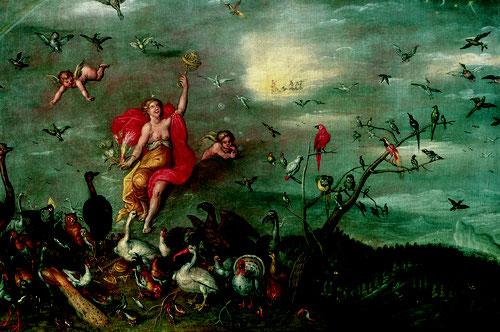 Jan Brueghel el Joven y Hendrick van Balen.Alegoría del Aire.1630.Óleo sobre tabla.41x58cm.Colección privada.