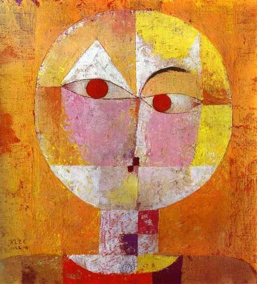 """Senecio de Paul Klee,1922.Expresionista alemán,su labor docente en La Bahaus, donde enseña su teoria del color.Imagen antropomórfica,roza la abstracción.Alude a una flor venenosa y al filósofo Seneca.""""El color me posee para siempre.Somos una misma cosa."""""""