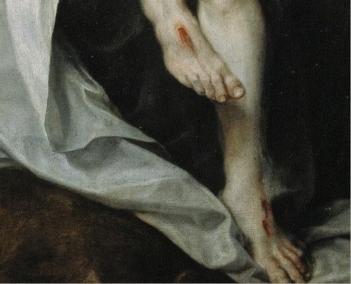 El pintor utiliza con maestria todas las posibilidades expresivas de la luz, contrasta la blancura del cuerpo inerte con la del sudario y la piel rosada del ángel. Gran quietud y misterio...