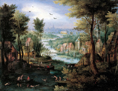Jan Brueghel el Viejo.Paisaje del río con cazadores.1600.Óleo sobre cobre.Colección privada, Bélgica.