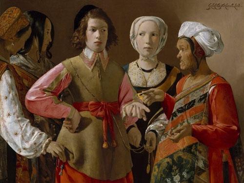 La Buenaventura.Óleo sobre lienzo.102x123cm.Metropolitan Museum of Art. Pintura extravagante,ademas de admirable por la extrema sutileza de manos y miradas con virtuosismo que juegan al engaño organizado del joven.Destaca por la suntuosidad de  los trajes