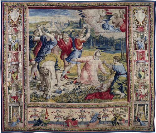 LAPIDACIÓN DE SAN ESTEBAN.Martirio del primer diácono de la fe cristiana, acusado falsamente de blasfemar contra Moisés.