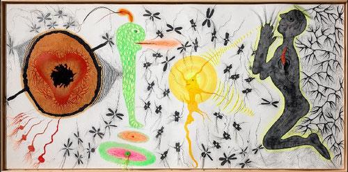 """EVRU(Creador del territorio mental fisico-artístico-científico-místico) Alberto Porta,Barcelona 1946.Se define a sí mismo """"Artcienmist"""".Su obra PRydru 2012 es de lápiz de colores,grafito,pint.acrílica,hilos sintéticos fluorescentes sobre papel."""