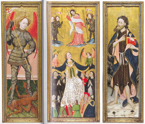 Bernardo  Serra,1423-1456.La Virgen de la Misericordia(tabla central)con S.Miguel Arcángel(lateral izq.) y S.Juan Bautista(tabla der.)Proliferan las escenas marianas como devoción sincera popular, especialmente invocada en epidemias de peste.