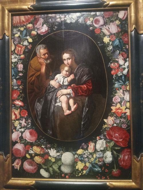 Jan Brueghel el  Joven y Bartolomeo Cavarozzi.La Sagrada Familia rodeada por guirnalda de flores 1620-25.Óleo sobre tabla,104x74cm.Firmado y fechado.Colección privada.