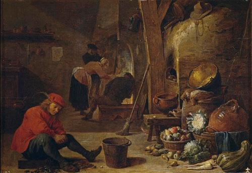 David Teniers.La cocina.1643.Óleo sobre tabla.35x40cm.Cuadro de gabinete pensado para la decoración de clases acomodadas.
