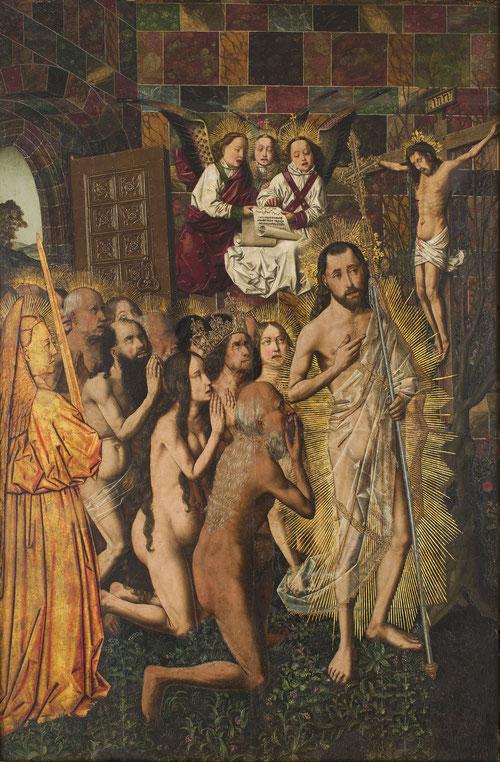 Entrada en el Paraiso y visión del Crucificado.Óleo sobre tabla .103x68cm.Barcelona.Un realismo descarnado o feismo en el tratamiento de los cuerpos..a las puertas del Eden custodiado por un ángel y querubines en el Paraiso,Adan Eva se arrodillan.