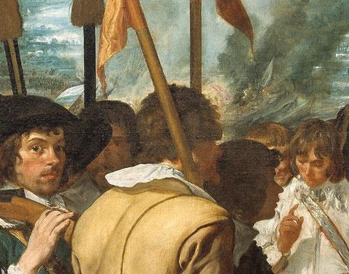 Detalle de la Rendición de Breda,1634.La atmósfera evanescente del humo de la batalla refleja la maestría de Velazquez para recrear el paisaje.
