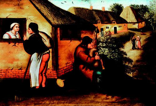 Pieter Brueghel el Joven.Un gaitero y un caminante en una aldea.1580-90.Óleo sobre tabla.Colección privada.