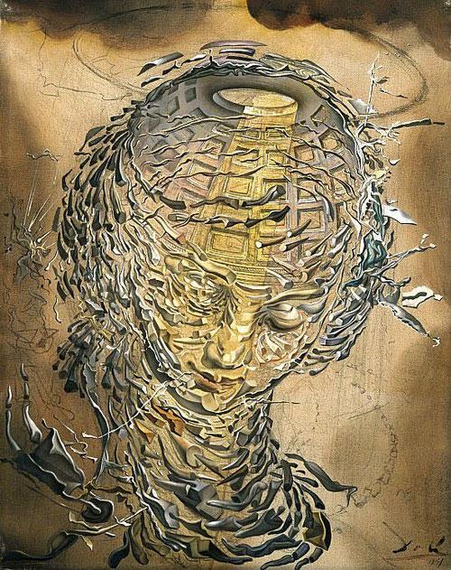 Cabeza rafaelesca 1951. Doble imagen formada por la sobreimpresión de un ángel y la cúpula del panteón de Roma...en busca del espíritu de la reintegración...cúpula-cabeza en espiral logarítmica.