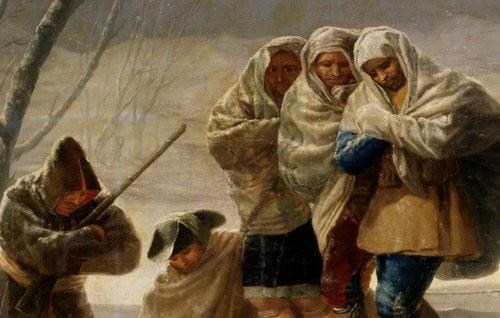Francisco de Goya. Detalle de la nevada. Las cuatro estaciones dedicadas al Palacio del Pardo. Nubes grisáceas que anuncian relámpago, cargadas de nieve, atravesadas magistralmente por rayos de sol.