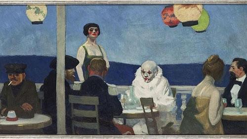 E.Hopper. Soir Bleu, 1914. Óleo sobre lienzo.91x182cm. Whitney Museum of American Art- Todo un manifiesto de lucidez en el que expresa los diferentes roles sociales.Obra simbolista y literaria de pura abstracción.
