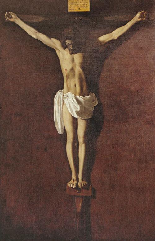 Cristo muerto en la cruz,1638-1640.Museo de Bellas Artes de Asturias.Cerca de 30 versiones diferenciados en dos grupos iconográficos:Cristo expirante aún vivo, y Cristo crucificado muerto,éste último relacionado con el de Velázquez,con 4 clavos.