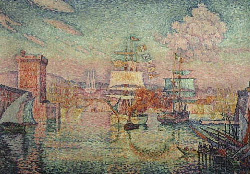 Paul Signac,L´entrée du port de Marsella,1911, Siguiendo sus ideas políticas ofrece la visión de un nuevo mundo igualitario y feliz, que acaba de nacer.