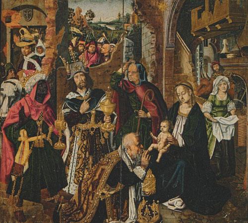 La Adoración de los Reyes Magos.Óleo sobre tabla.Granada.Cabildo de la Capilla Real. Perteneció a Isabel la Católica,la Sta Faz era la escena con la puerta cerrada, mientras que la obra ppal muestra la Epifanía en composición multitudinaria.