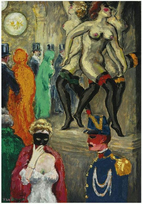 Kees van Dongen. El baile de máscaras en la Ópera. 1904. Atraidos por la vida nocturna tema típico de las vanguardias, retrató como nadie a prostitutas, bailarinas y acróbatas de Montmartre.