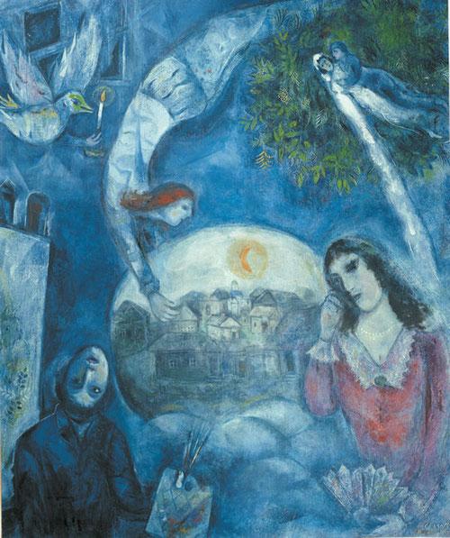 En torno a ella...este cuadro no está en la exposición. Fue pintado tras la muerte de su mujer, Bella..la luna esta en el centro, en la esfera blanca su aldea, todo envuelto en azul celeste..armonía y pureza de sentimientos...simplemente bellísimo!