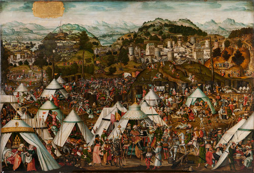 La sofisticada narración del relato bíblico de Judith y Holofernes es raro ejemplo de pintura alemana renacentista de Mathias Gerung,1538.Pero es una excusa para presentar un asunto político,Jorge de Sajonia y Juan de Hungria son católicos aliados.