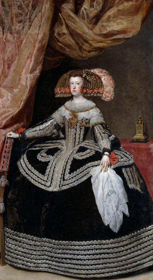 Velázquez realizó este retrato de Mariana de Austria encargado por su padre el emperador Fernando III, para enviarlo a la corte española donde se casaría con el príncipe Baltasar Carlos, al moris éste, casó con el propio rey Felipe IV, su tio carnal