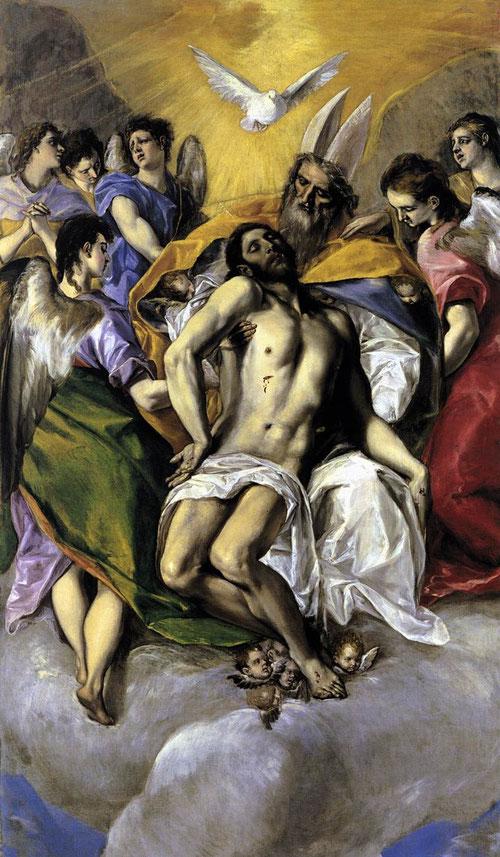 La Trinidad del Greco 1577-79.Óleo sobre lienzo.300 x 179cm.Museo del Prado. Composición piramidal basada en estampa de Durero, eliminando referencia a la Pasión.Como si de una Piedad se tratara,la relación entre el Padre y el Hijo,clara huella de M.Angel