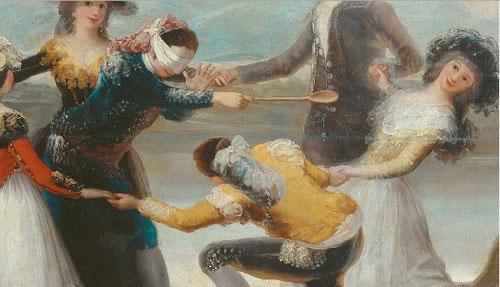 El juego de la gallina ciega, en el SXVIII se consideraba una de las actividades físicas mas beneficiosas para el desarrollo de niños y jóvenes, recuerdan a fiestas aldeanas, escenas costumbristas , pero aqui el tema fundamental es el engaño.
