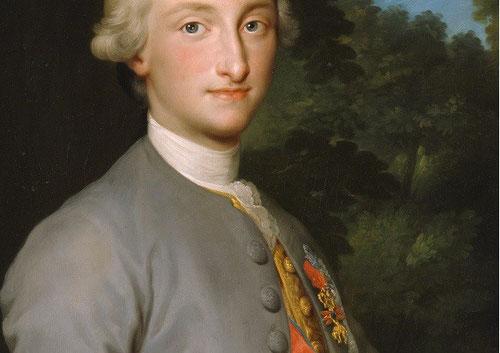 Detalle de Carlos IV siendo Príncipe de Asturias, 1765.Anton Raphael Mengs.Museo del Prado, Madrid.