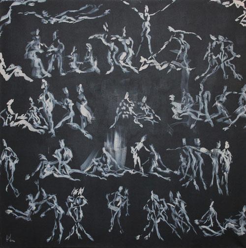 Javier Gimeno del Busto.Arquitecto.Analiza la figura humana sin estorno,sinespacio,inspirado en la pintura popular japonesa y en los jeroglíficos egipcios.Sencillez y expresividad de la imagen,a modo de abecedario desdibujado donde hombre  y mujer flotan