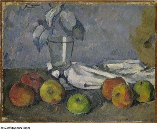 Cézanne.Verre et pommes.La tensión dinámica entre las figuras geométricas en sus naturalezas muertas, de pequeñas pinceladas y planos de color intensos.