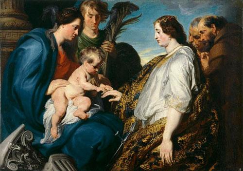 Van Dyck, Desposorios místicos de Sta Catalina,1618-20.Óleo sobre lienzo.Museo Nacional del Prado.Recuerda el pasaje de La Leyenda Dorada de la Vorágine cuando Catalina rechaza el matrimonio con el emperador Maximiliano, aduciendo su pertenencia a Cristo.