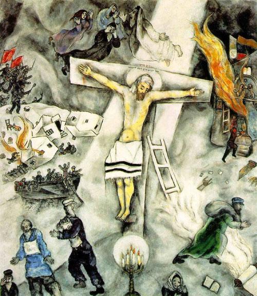 Marc Chagall, La Crucifixión blanca, 1938. 154x139.7. The Institute of Chicago. ¿Cómo permanecer estable en un universo en convulsión?..Las artes deciden tomar partido por el caos..en un siglo donde nada es lo que parece...haciendo visible lo invisible.