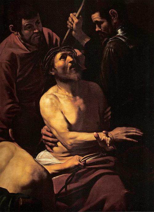La coronación de espinas,1604.öleo sobre lienzo,177x127cm,coleccion Banca Populare di Vicenza. El Nuevo Testamento describe el momento en que los soldados colocan la corona de espinas sobre la cabeza de Jesucristo,el soldado de túnica roja sujeta el brazo