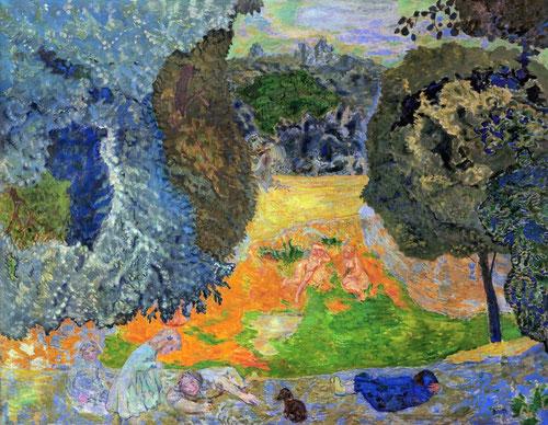 L´été 1917.La soledad del ser humano se hace igualmente patente en este panel decorativo de enormes proporciones pintado para los Hahnloser,una escena de felicidad arcádica virgiliana,pertenece a la Galerie Maeght.