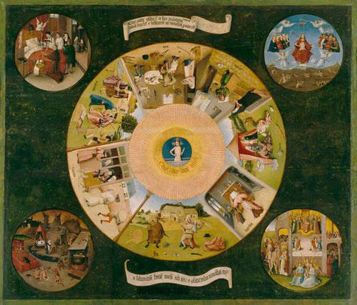 El Bosco. La mesa de los siete pecados capitales,hacia 1516.Óleo sobre tabla. 120x150cm, es quizá la pieza de mayor tamaño de la exposición.