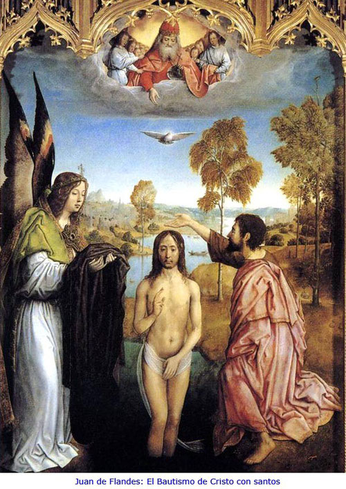 Cristo, de frente, vestido con paño de pureza, San Juan Bautista de rodillas bautizando.Fondo con cierta perspectiva y el rio Jordán.Posible que pertenezca al Retablo de la Cartuja en Burgos, fundada por Juan II padre de Isabel la Católica.
