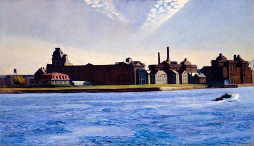 E.Hopper.Blackwell´s Island,1928.Óleo sobre lienzo.88x152cm.Colección Soledad y Robert Hurst. Hopper confiere a la luz una dimensión espiritual,opone simbólicamente la luz y las tinieblas.Es la singularidad de la luz del Nuevo Mundo, un sentido metafísico