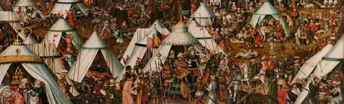 Mathias Gerung ofrece una atractiva lectura bíblica, toda una excusa para representar un asunto político,Jorge de Sajonia y Juan de Hungría, católicos aliados con los enemigos de la fe, repleto de emblemas turcos.