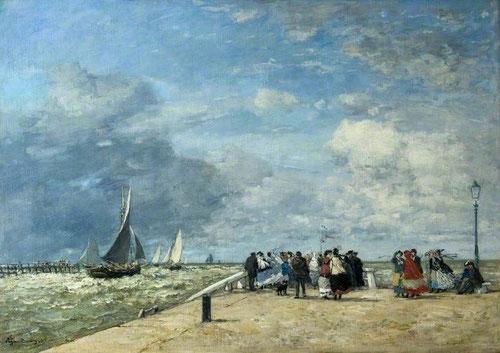 Eugène Boudin.El muele de Trouville 1868.Òleo sobre lienzo.46x64cm.Colección privada.