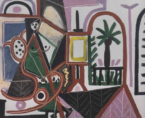 Mujer en el taller.Picasso,Cannes 1956.Óleo sobre lienzo,65x82cm.Colección particular.