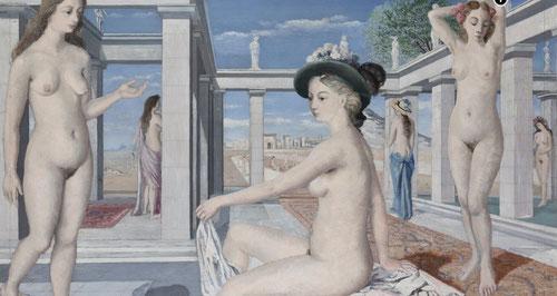 Las cortesanas de Paul Delvaux expresa la arquitectura clásica grecorromana y la influencia del Renacimiento como inspiración y creador de espacios.