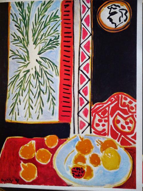 Henri Matisse.Bodegón con granadas. 1947.Óleo sobre lienzo.80x60cm.Musée Matisse. Dibujar el color,todo brilla, todo es color...es el resultado de toda una vida de indagaciones...Ventanas don la luz se filtra por las persianas,palmeras...el mar!