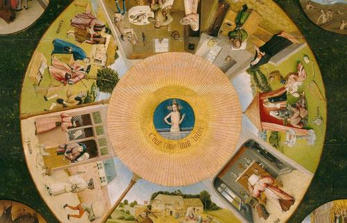 La mesa de los pecados capitales, del Bosco recuerda las miserias de los humanos..una humanidad doliente amenazada por el castigo del Juicio Final y el fuego del infierno.