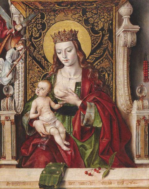 """Pedro Berruguete.Virgen de la leche.1485-1490.Óleo sobre tabla. Concebida para devoción privada.El niño mira a los portadores de """"arma Christi"""" y medita sobre su futura muerte.Virgen coronada vestida con rico manto."""